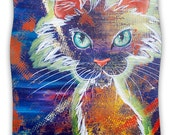 "Fleece Throw Blanket - Padgett Mason ""Rave Kitty"" Great Gift! - Matches Throw Pillows"