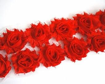 1/2 Yard - Petite Shabby trim - Petite Flower Trim - Petite Shabby - Shabby Flower Trim - Small shabby trim Red Solid Shabby Chic