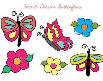 Butterflies Clip Art - Hand Drawn - Flower Clipart