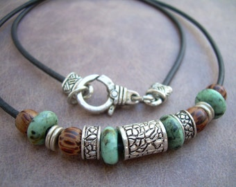 African Turquoise and Antique Silver Bead Leather Necklace, Gemstone Necklace, Mens Necklace, Womens Necklace,