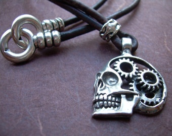 Skull Necklace, Steampunk Jewelry, Leather Necklace, Leather Jewelry, Mens Necklace, Skull, Steampunk, Gears, Mens Jewelry