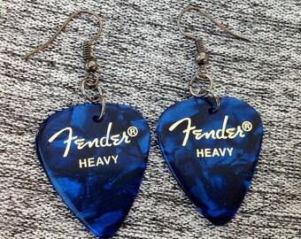 Fender Blue Guitar Pick Earrings