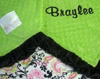 FREE SHIPPING Personalized Baby Blanket with Hot Pink, Black and Lime Paisley Minky or satin back.