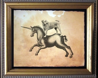 Labrador Retriever Yellow Lab Riding Unicorn - Vintage Collage Art Print on Tea Stained Paper - Vintage Art Print