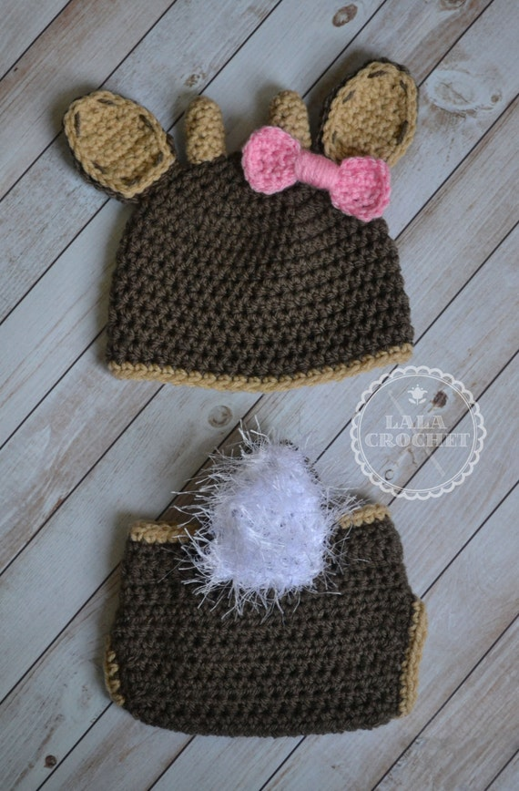 Free Crochet Deer Diaper Cover Pattern : Newborn Crochet Doe Deer Hat and Diaper Cover White Tail Doe