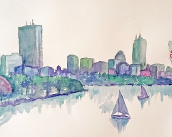 Boston Skyline -Giclee Print of Original Watercolor Painting