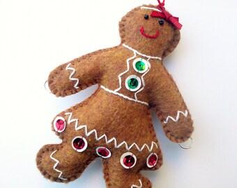 Felt Gingerbread Girl Christmas Tree Ornament