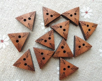 30Pcs 13x17mm special Brown triangle  Wood button  W662