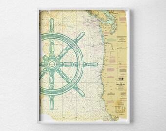 Nautical Map Art, Nautical Poster, Nautical Print, Sailing Print, Beach House Decor, Vintage Nautical Print, Nautical Chart, 0284