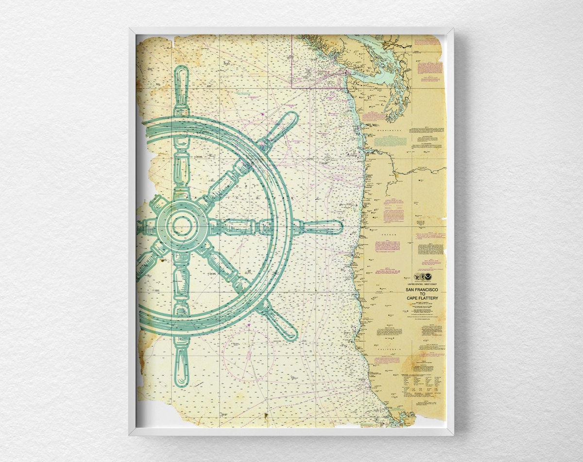 Nautical Map Art Nautical Poster Nautical Print Sailing