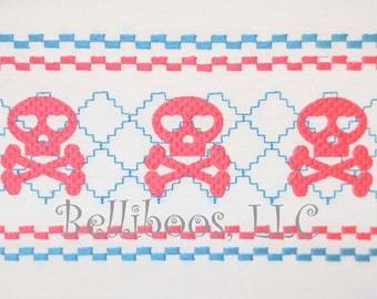 Skull Faux Smocking - Skull Embroidery Design - Embroidery Design- Faux Smocking Embroidery Design - Pirate Faux Smocking