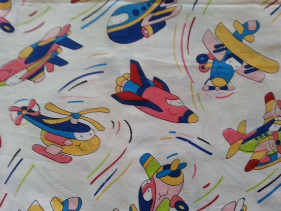 Vintage children 39 s cartoon airplane fabric 42 x for Childrens airplane fabric