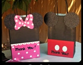 Mickey Mouse Minnie Mouse Goody Bags, Candy, Favor, Birthday Party Bags SET OF (10) SMALL