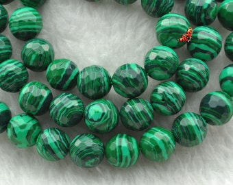 Malachite faceted round beads 8mm,47 pcs