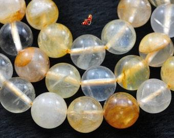 Citrine smooth round beads 10mm,37 pcs