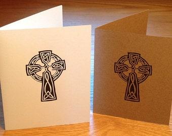 Celtic cross linocut block print card