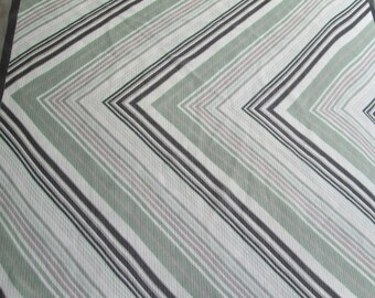 Silk Scarf  Brown- Taupe, Green,  White  Sheer Chevron Pattern Italian Made