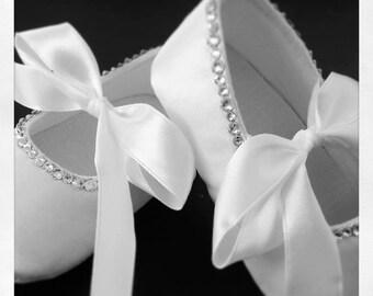 White Satin Swarovski Crystal Baby Christening Shoes