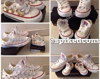 Mommy & Me or Daddy and Me Spike Studded Converse-Low Tops