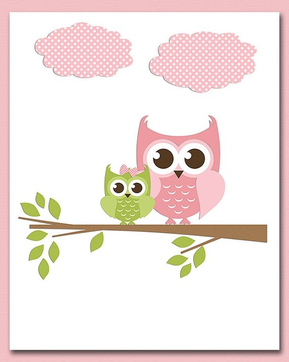Pink And Green Wall Decor For Nursery : Pink and green brown owl wall art nursery print