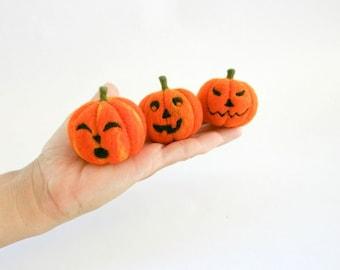 Jack O Lantern needle felted pumpkin, Halloween decoration,  Thanksgiving Decor, Orange felt pumpkin, Eco friendly home decor, MADE TO ORDER
