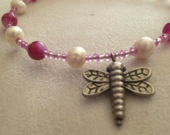 Beaded Memory Wire Bangle With Dragonfly Charn