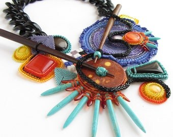 Ode to Kandinsky Competition-Winning OOAK abstract modern Bauhaus beadwoven bead embroidery statement necklace purple turquose orange yellow