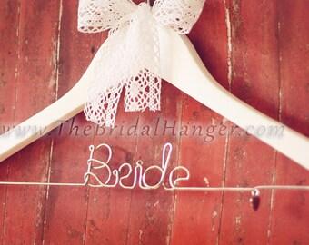 """Personalised """"Bride"""" Wedding Hanger, White Wooden Wedding Hanger, Custom Made. UK SELLER."""