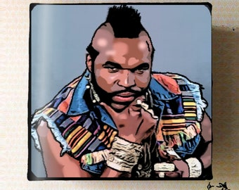 Mr T - Pop Culture illustrated Small Stretch Canvas Print art