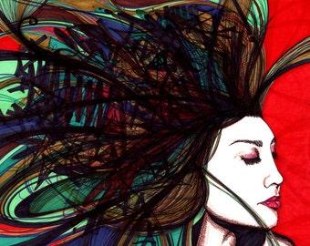 "Generator, Wild hair woman: GICLEE PRINT  11""X14""     I037"
