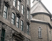 Quebec City Architecture Photography, Travel Photography, Large Wall Art, City Photography, Gray Brown Neutral