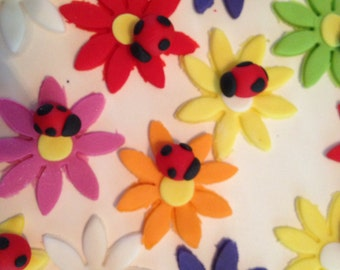 Fondant Ladybug on flower cupcake toppers, cake toppers, edible party favor, Gerber flowers