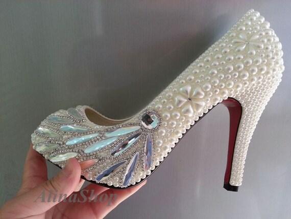 Wedding High Heels Ivory: Wedding Shoes Closed Toe Ivory Pearl Wedding Heels By