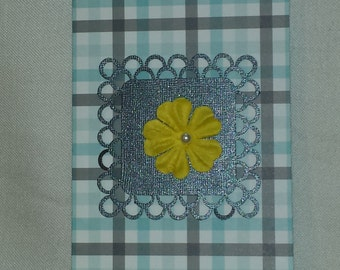Blue and Gray Plaid Flower Lace Greeting Card Set of 6