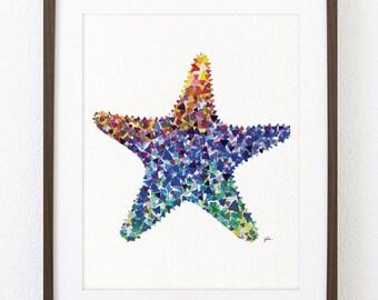 Starfish Painting Watercolor Art - 8x10 Archival Print - Colorful Geometric Art Print - Asteroidea, Sea Star, Starfish Wall Decor, Sea Gifts