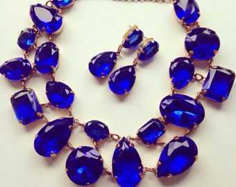 Luxury vintage/bridal/wedding/prom/evening blue sapphire crystal necklace and clips or earrings jewelry set