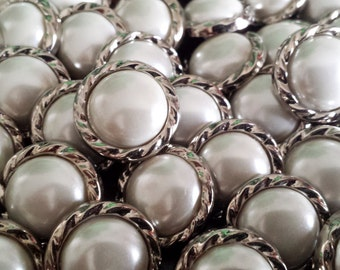 """11/16"""", Pearl & Silver Bulk Buttons for Crafts, Sewing, Bridal Designs, Jewelry and More - Button Lot,  50 buttons per bag"""