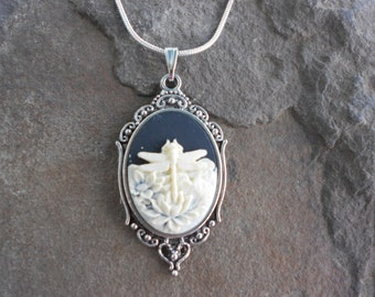 "Stunning Ivory Dragonfly (on a black background) Cameo Pendant Necklace---.925 plated 22"" Chain--- Great Quality"