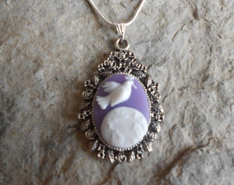 """Peace on Earth-- Dove with Olive Branch Over Earth Cameo Pendant Necklace---Christmas  .925 plated 22"""" Chain--- Great Quality"""
