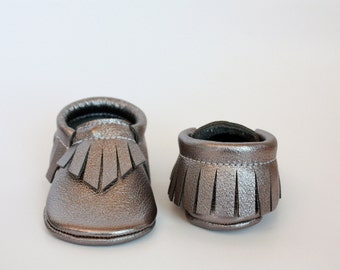Gunmetal  Leather Moccasins