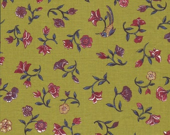 Dutch Chintz - Flowers from Paradise - OLIVE 1/2 yd
