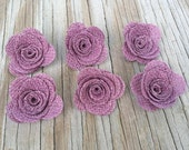 6 Burlap Rose Flower- Handmade Rustic Posey Rose Roses Light Plum Purple Wedding Decoration Bridal Decor Card Making Flowers Baby Shower