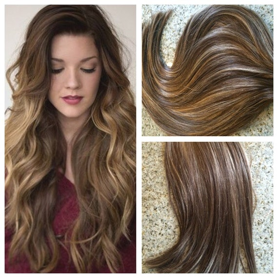 5 star balayage highlighted european remy tape in seamless for Balayage tie and dye maison