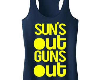 SUN'S OUT GUNS Out Tank Racerback, Workout Clothing, Workout Tanks, Gym Tank, Motivational Workout, Summer, Workout Shirt, Fitness
