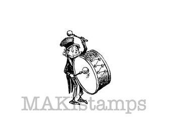 Music rubber stamp  / Brownie Drummer / Small stamp   (140522)
