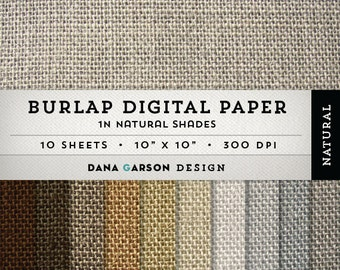 Burlap Digital Paper Set in Natural Burlap Colors for card making, blogs, scrapbooking, clip art ClipArt, Instant Download, printable