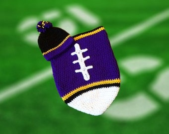 Baltimore Fan Favorite Baby Boy Football Cocoon & Hat (Newborn to 3 months)