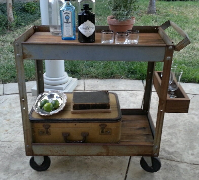 Industrial Bar Cart Rolling Rusty Metal Table Casters