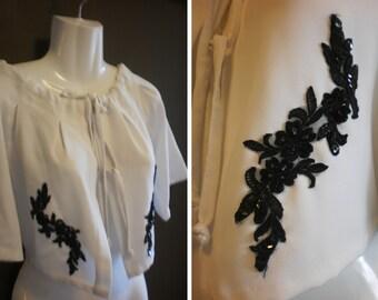 Vintage Style Ivory Crepe Ladies Over Top Crop Bolero Jacket Black Lace