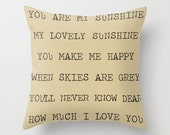 Pillow Cover, You Are My Sunshine, Inspirational, Neutral Home Decor, Bedroom, Decorative, Khaki, Tan, 16x16, 18x18, 20x20, Decorative